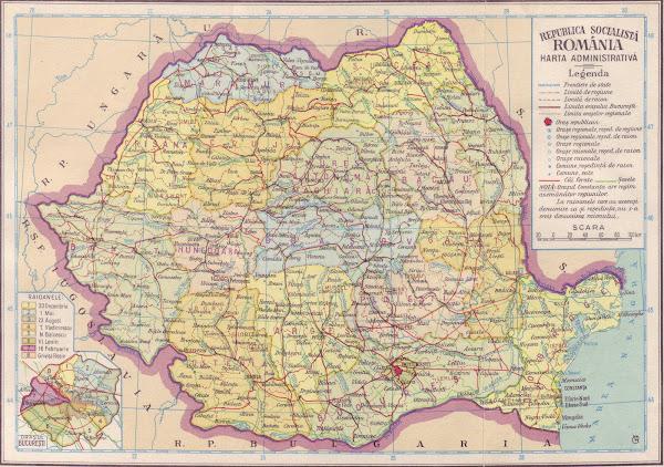 Harta administrativă a Republicii Socialiste România în anul 1966