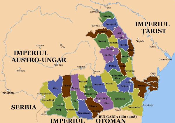 Harta României înainte de primul război mondial