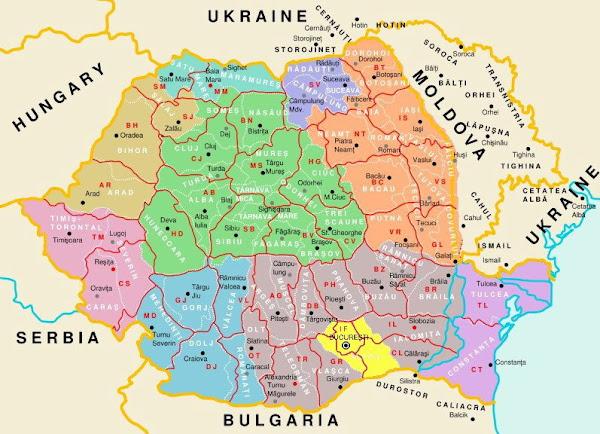 Harta judeţelor noi şi vechi din România