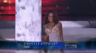 Miss USA Crystle Stewart falls in Miss Universe 2008