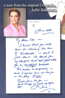 Julie Andrews Note to Lea Salonga Cinderella