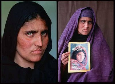 National Geographic Afghan Girl before and after photo