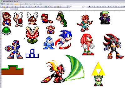 Des personnages de jeux vidéo dans un tableau Excel