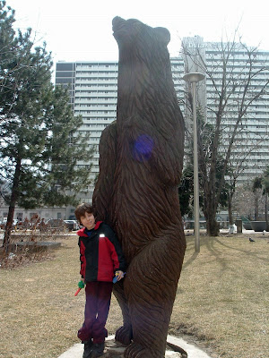 [Photo: Nicky with bear at College Park.]
