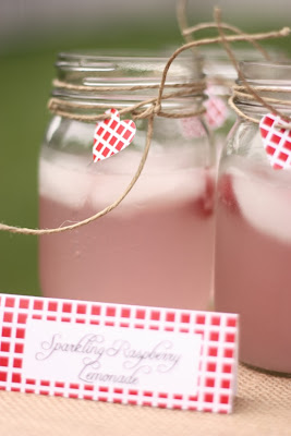 Raspberry Lemonade in Mason Jars
