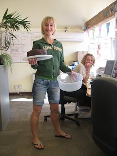 Cake creator and cake spectator