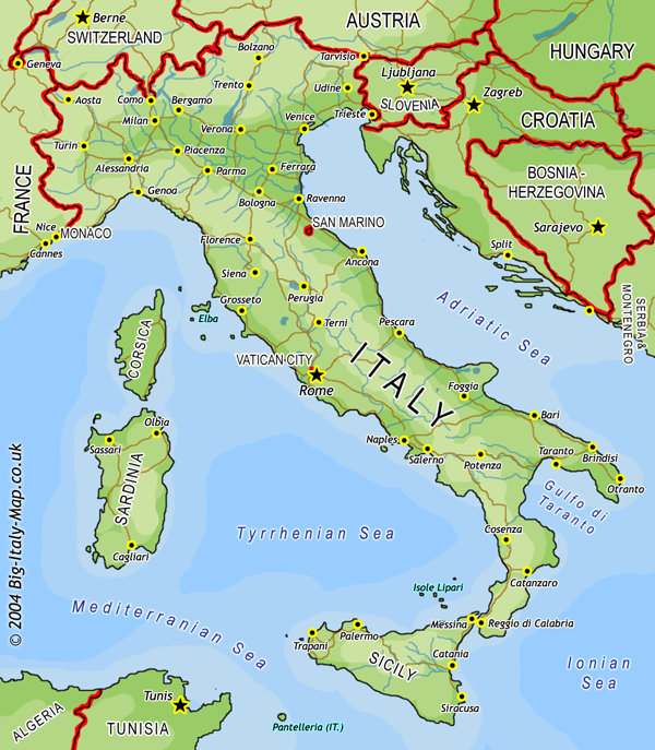 map of italy with cities and