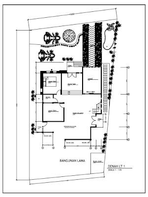 Contoh Gambar Kerja Rumah Minimalist 2 Lantai Denah Lantai 1