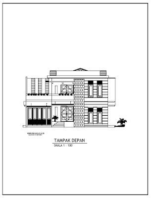 Contoh Gambar Kerja Rumah Minimalist 2 Lantai Tampak Depan