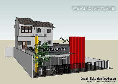 Desain Sketch Ruko dan Kos-Kosan Pada Lahan 16x27 Meter