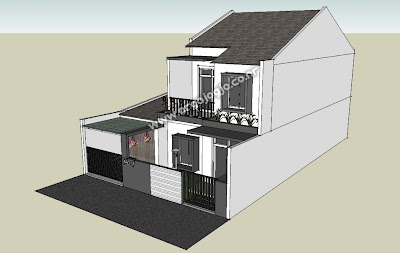 Sket Desain Eksterior Facade Rumah 2 Lantai Minimalist