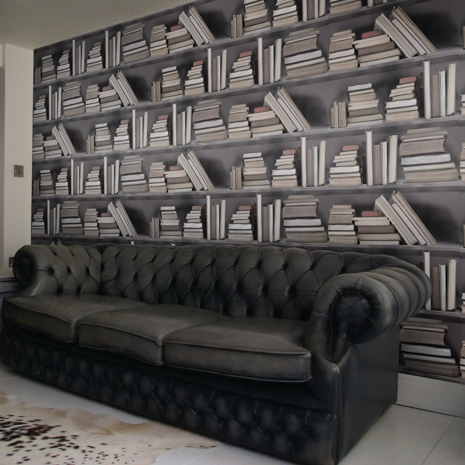 Ridiculously fab bookshelf wallpaper interior casas de lujo for Casas de lujo