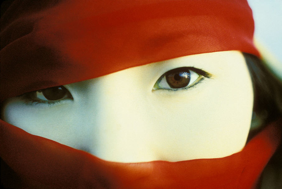 asian woman eyes crimson scarf