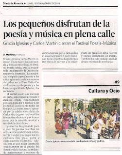 Diario de Almería Gracia Iglesias Festival Poesía Música Carlos Martín