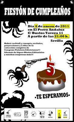Cangrejo pistolero celebración cumpleaños quinto aniversario sevilla editorial Perro Andaluz poesía performance