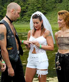 biker wedding dress