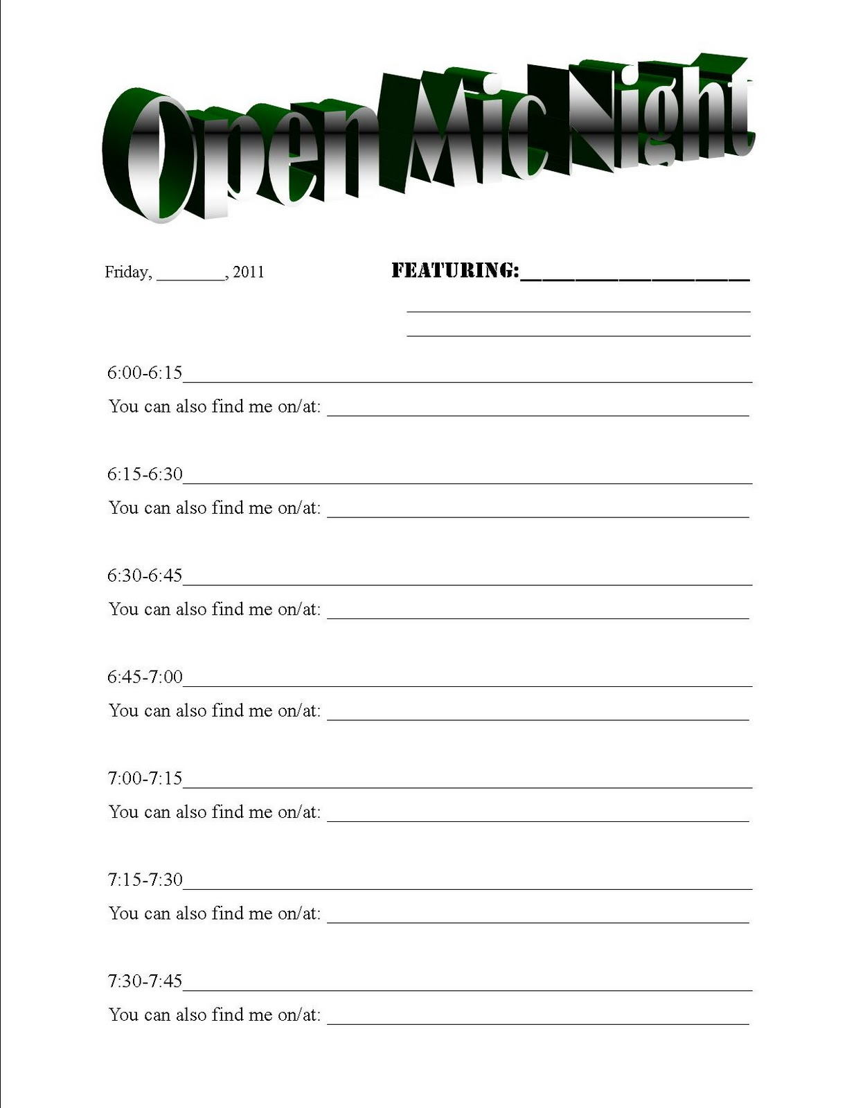 Sign Up Sheet Template, Sports Sign Up Sheet Template, Sign Up Sheet ...