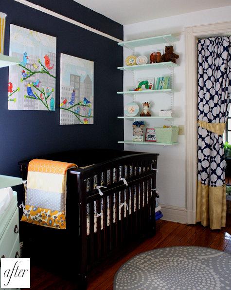 Seafoam green nursery : Navy blue and white nursery