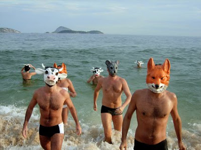 men on the beach, emerging from the ocean in swim trunks and animal masks, cow mask, fox mask, mouse mask, men in masks, costumes
