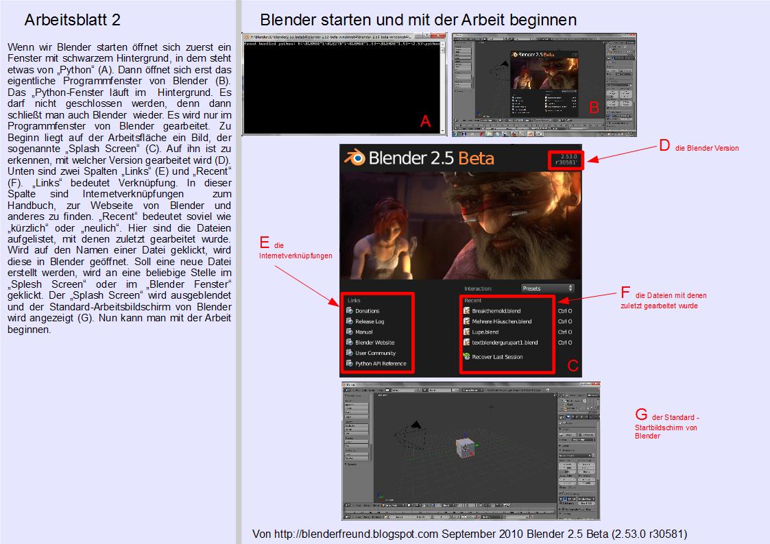Blender 3D für Jedermann: Blender starten und mit einer neuen Arbeit ...