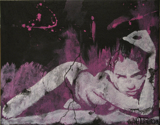 Pop art styled painting inspired by picture of Adriana Lima laying down on stomach. Graffiti look achieved by painting with white paint on an absorbent stucco like background using acrylic paints and mediums.