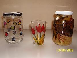 Pintura em vidro de Maionese, azeitona, copos de requeijão...