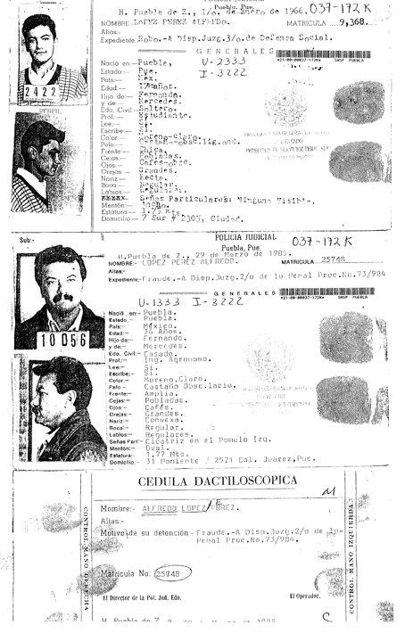 Alfredo López Pérez con amplia carrera delictiva