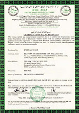 Certificate of Halal Products-IFRC ASIA (IFRC/P/LA/10/0045)