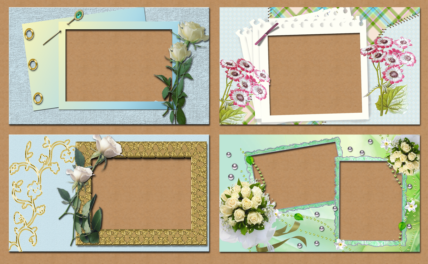 1000+1 FREE GRAPHICS : 4 Romantic Frames 1600x900 in PNG transparent ...