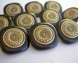 Set of 10 square black and gold buttons -$3-