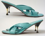 Stunning 60s Mod Aqua Blue Strappy Leather Sandals with Metal Kitten Heels -$38-