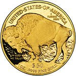 Reverse side of Gold Buffalo Coin 1 oz.