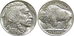 1935 Buffalo Nickel Indian Head Coin