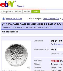 Maple Leaf auction and Silver Eagle dollars auction on Ebay