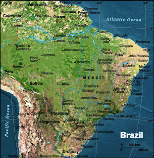 Physical satellite map of Brasilia