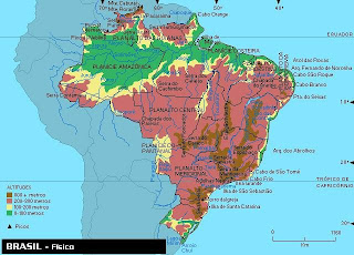 Map of elevations in Brazil