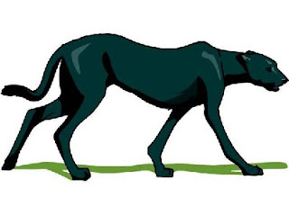 Free black panther walking clipart