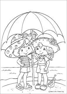 Strawberry Shortcake beach umbrella coloring pages