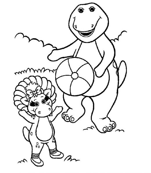 Coloring page of Barney and friend title=