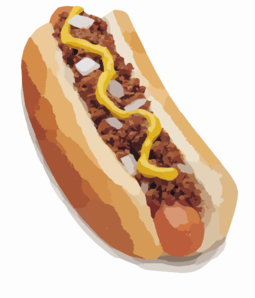 Onion & meat hot dog clipart image