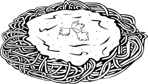 Black and white spaghetti clipart image