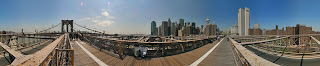 360 panorama of New York skyline from Brooklyn Bridge. Panoramic Earth image by Peter Watts