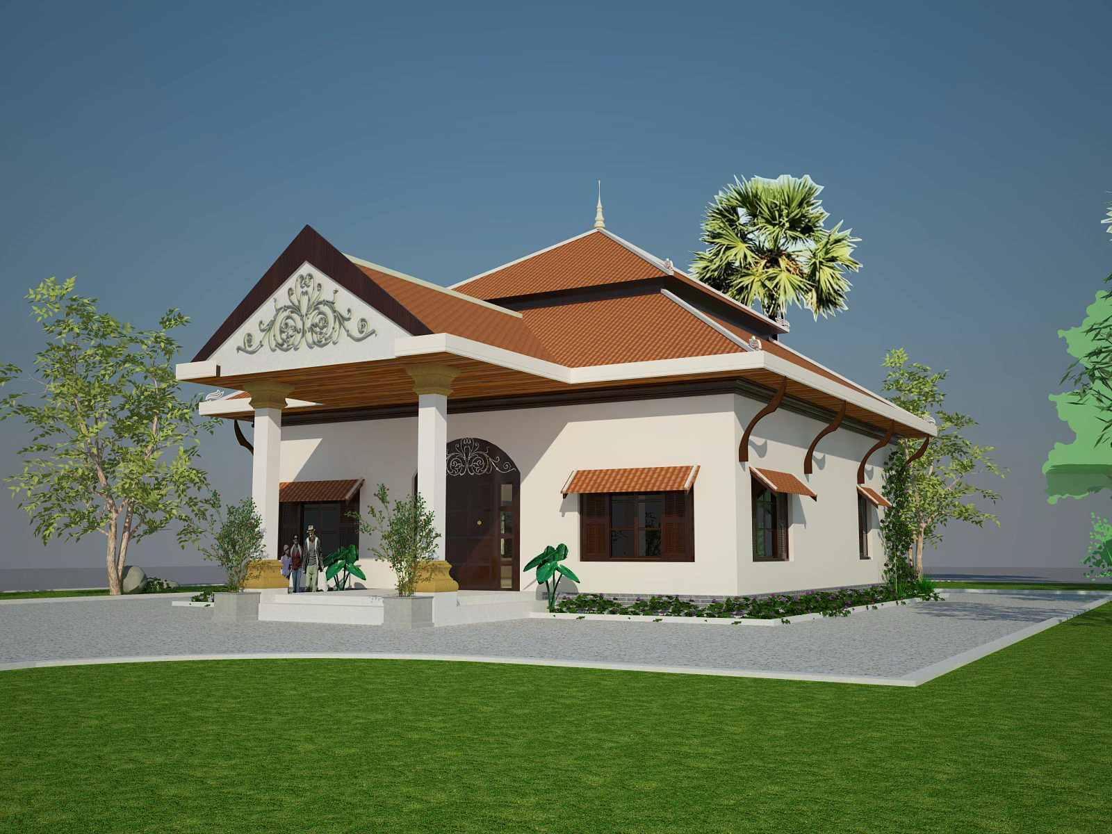 Small khmer house roof style architecture decoration idea for Architecture khmer