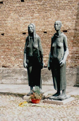 The Monument Two Women at the crematorium in front of the Wall of Nations, Ravensbrück Concentration Camp Memorial
