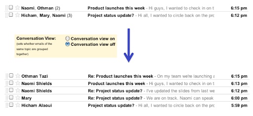 GMail conversation view