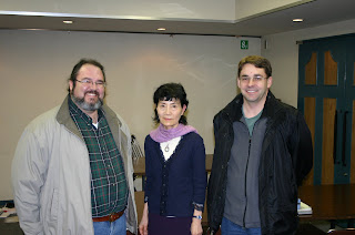 Jonathan Eller, Mizuko, and David Patterson at the JEMA Plenary Session 2009 in Ochanomizu Tokyo Japan