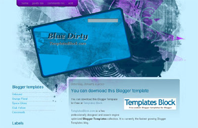Blue Dirty Blogger Template