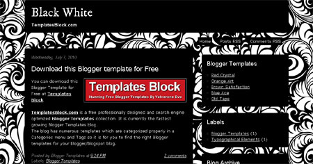 Black White Vector Web2.0 Blogger Template
