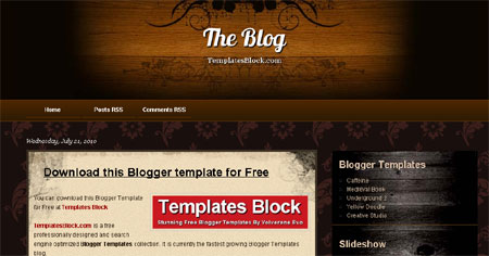 The Blog Wood Black Web2.0 Blogger Template