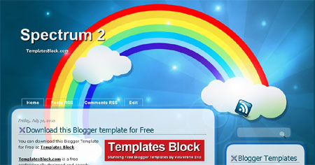 Free Blogger Spectrum Rainbow Blue Template
